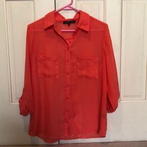 🌺Sheer Coral Button Down